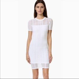 Alexander Wang Dress Mesh Overlay Bodycon Mini